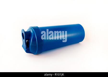 Bottle water on isolated white background / Plastic blue sport water bottle / Fitness equipment. - Stock Photo