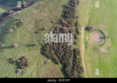 aerial view of dew ponds on south downs national park and the south downs way  in east sussex - Stock Photo