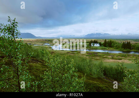 The UNESCO world heritage site of Pingvellir / Thingvellir National Park Iceland. An Althing historical parliament site set on the Mid Atlantic Ridge. - Stock Photo