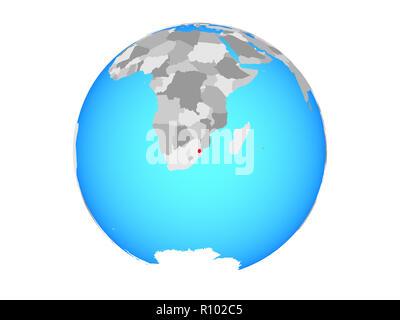eSwatini on blue political globe. 3D illustration isolated on white background. - Stock Photo