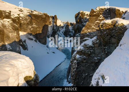 Amazing Iceland in winter - breathtaking scenery and frozen landscapes - - Stock Photo