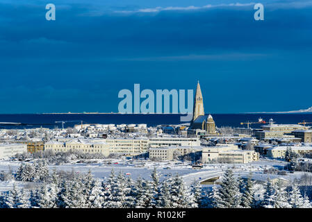 Amazing Iceland in winter - breathtaking scenery and frozen landscapes - the city of Reykjavik from a viewpoint - amazing cityscape - Stock Photo