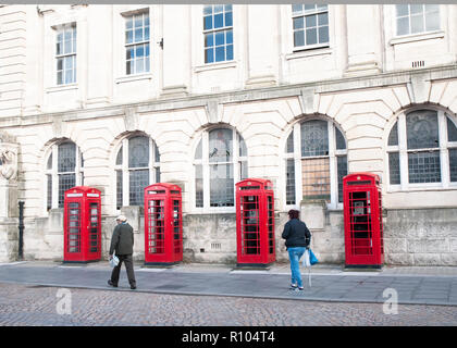 Row of four old style K2 phone boxes outside old General Post Office and Sorting office building in Abingdon street Blackpool Lancashire England UK - Stock Photo