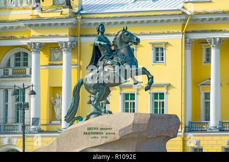 The Bronze Horseman - statue of Peter the Great St Saint Petersburg, Russian Sankt Peterburg, formerly (1914–24) Petrograd and (1924–91) Leningrad, ci - Stock Photo