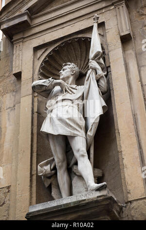 Statue on the Loggia del Mercato Nuovo in Florence, Italy Europe - Stock Photo