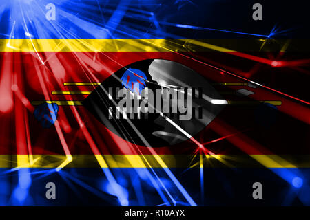 Swaziland shining fireworks sparkling flag. New Year 2019 and Christmas futuristic shiny party concept flag - Stock Photo