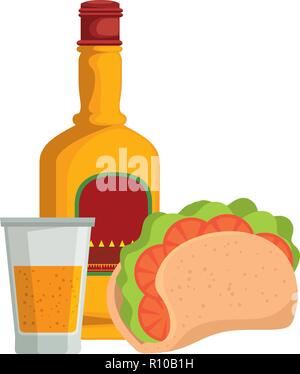 tequila bottle with taco mexican food vector illustration design - Stock Photo