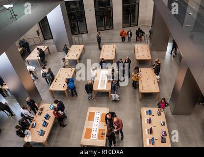 Barcelona, Spain - November 07, 2018: People inside Apple store in Barcelona - Stock Photo
