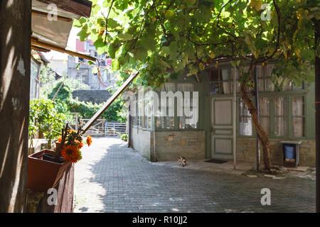 Typical old Georgian yard in Tbilisi city. Georgia - Stock Photo