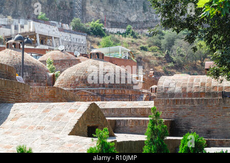 banotubani district in the Old Town of Tbilisi. It is district with public bathhouses that use the sulphurous waters of hot springs - Stock Photo