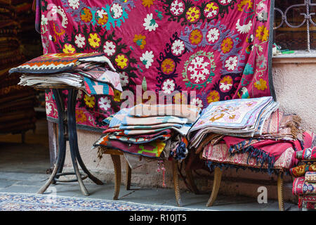 Georgian carpets handmade with national ornaments - Stock Photo