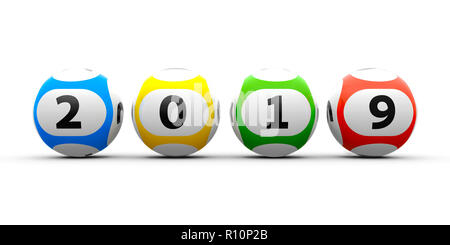 Lottery balls on a white table represents the new 2019 year, three-dimensional rendering, 3D illustration - Stock Photo