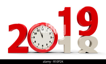 2018-2019 change with clock dial represents coming new year 2018, three-dimensional rendering, 3D illustration - Stock Photo