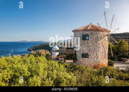 Old windmills on Skinari, Zakynthos island, Greece - Stock Photo