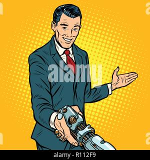 businessman shaking hands with robot, new technology - Stock Photo
