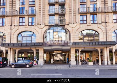 22 September 2018: Berlin, Germany - The Hilton Hotel on Gendarmenmarkt Square, in the central city. - Stock Photo