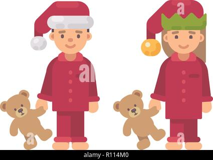 Two children in Christmas hats and red pajamas holding teddy bears - Stock Photo
