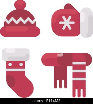 Set of winter clothes flat illustration. Hat, mitten, stocking and scarf. Christmas flat icons - Stock Photo
