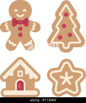 Set of Christmas gingerbread icons. Man, house, tree and star flat illustration. Fun holiday food - Stock Photo