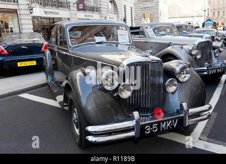 Three-quarter front view of a 1950 Jaguar Mark V Saloon, on display at the Regents Street Motor Show 2018 - Stock Photo