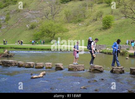 Stepping Stones at Dovedale - Stock Photo