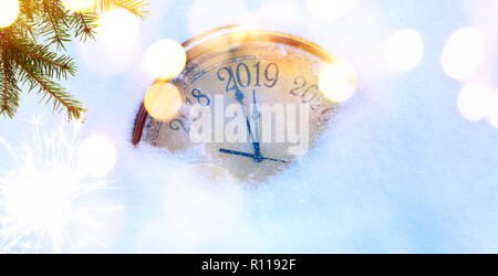 2019 Christmas and new years invitation banner background - Stock Photo