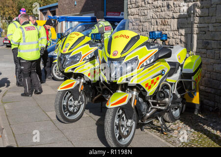 Volunteer Blood Bikers at an Emergency Services open day - Stock Photo