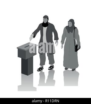 Religious muslim voters are voting for election with ballot box. All the objects, shadows and background are in different layers. - Stock Photo