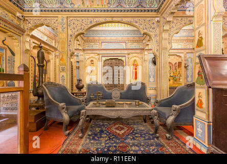 Antique items inside the Patwon-ki-Haveli in the desert town of Jaisalmer in the state of Rajasthan in western India - Stock Photo