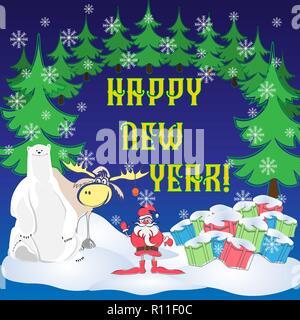 Greeting card with Santa, Christmas trees, gifts, polar bear and moose - Stock Photo