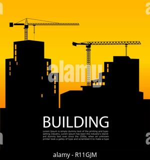 black silhouettes of buildings and cranes on background at sunset. Tower crane builds a tall house. Vector illustration. Place under the text.  - Stock Photo