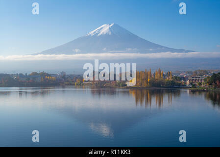 Mount Fuji and Lake Kawaguchi in Yamanashi, japan