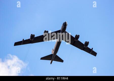 KLEINE-BROGEL, BELGIUM - SEP 16, 2012: United States Air Force B-52 Stratofortress longe-range strategic bomber aircraft in flight over Kleine Brogel  - Stock Photo