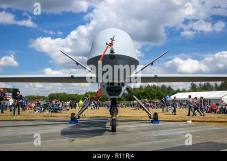 VOLKEL, NETHERLANDS - JUN 15, 2013: Military General Atomics MQ-1 Predator UAV drone on display at the Royal Netherlands Air Force Open Day. - Stock Photo