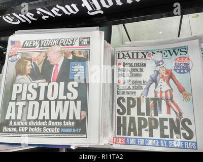 Headlines of New York newspapers report on Wednesday, November 7, 2018 about the previous days mid-term elections in which the Democrats gained control of the House but the Republicans gained more seats in the Senate.  (© Richard B. Levine) - Stock Photo