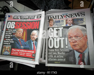 Headlines of the New York Post and Daily News newspapers on Thursday, November 8, 2018 report on the previous days' firing of U.S. Attorney General Jeff Sessions by President Donald Trump, one day after the mid-term elections. (© Richard B. Levine) - Stock Photo