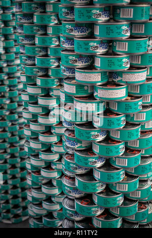 A display of Trader Joe's cans of Chunk Light Tuna in New York on Saturday, November 3, 2018. (© Richard B. Levine) - Stock Photo
