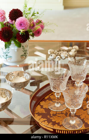 Glassware on dining table - Stock Photo
