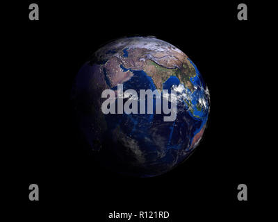 planet earth on black background view from space 3d illustration - Stock Photo