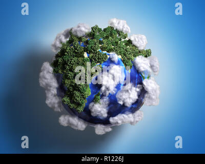 ekokontsept nature preservation the planet is covered with trees clouds flying over it 3d render on gradient - Stock Photo