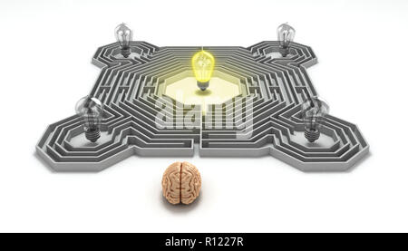 brain concept is the idea of the search at the entrance of the labyrinth in the center of which a luminous bulb 3d render - Stock Photo