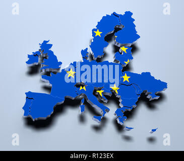 European Union Map 3d rendered image - Stock Photo