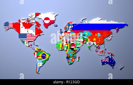 The world map with all states and their flags 3d illustration - Stock Photo