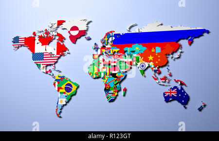 The world map with all states and their flags 3d render - Stock Photo