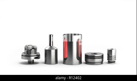 serviced atomizer in disassembled form for soaring electronic cigarettes 3d render on white - Stock Photo