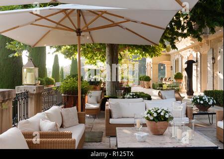 Sitting area on luxury patio - Stock Photo