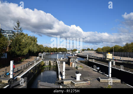 River Lea navigation, Tottenham Hale, North London UK October 2018 - Stock Photo