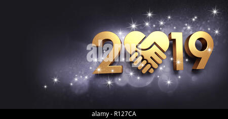 New Year date 2019 colored in gold, composed with a golden heart, glittering on a black background - 3D illustration - Stock Photo