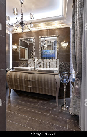 Master bathroom in brown tones with two sinks - Stock Photo