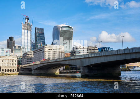 London Bridge from the South Bank, looking towards the City of London UK - Stock Photo